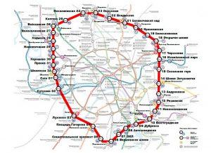 Карта-схема МЦК (Московского Центрального Кольца)