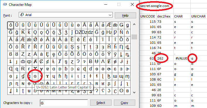 символ в юникоде в виде буквы джи (G)